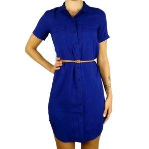 Loft short sleeve button front mini shirt dress